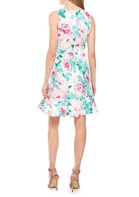 d789fb24804 ... Nine West Sleeveless Floral Ruffle Hem Dress