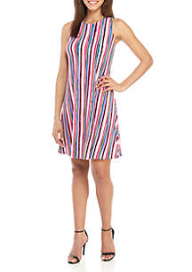 70878fcabbc8 ... Nine West Sleeveless Stripe Trapeze Dress