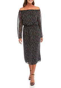 Nine West Off The Shoulder Dot Midi Dress