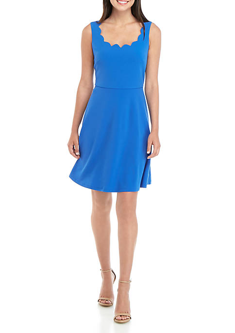 Nine West Scallop Neck Fit and Flare Dress