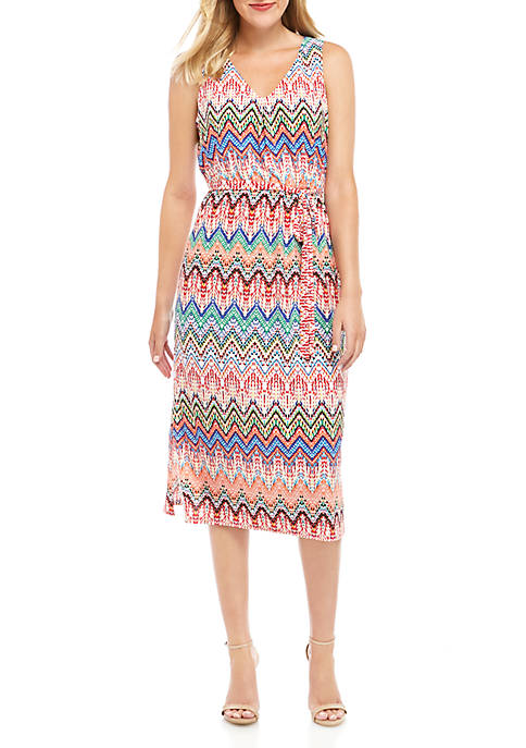 Nine West Sleeveless Chevron Dress with Sash