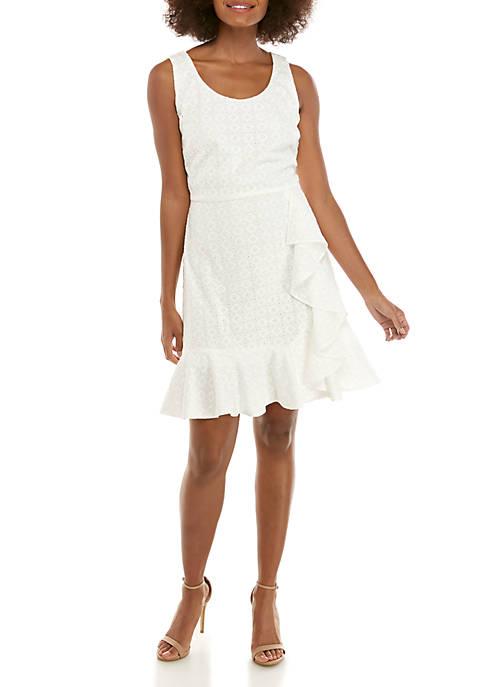 Sleeveless Cotton Eyelet Ruffle Dress