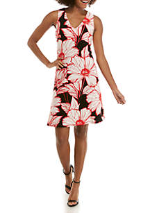 Nine West Sleeveless Floral ITY Trapeze Dress