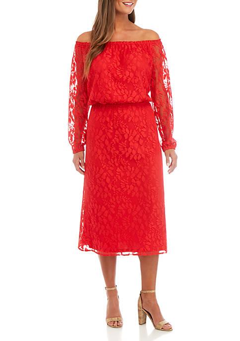 Off The Shoulder Lace Midi Dress
