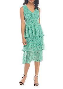 Nine West Sleeveless Chiffon Tiered Dress