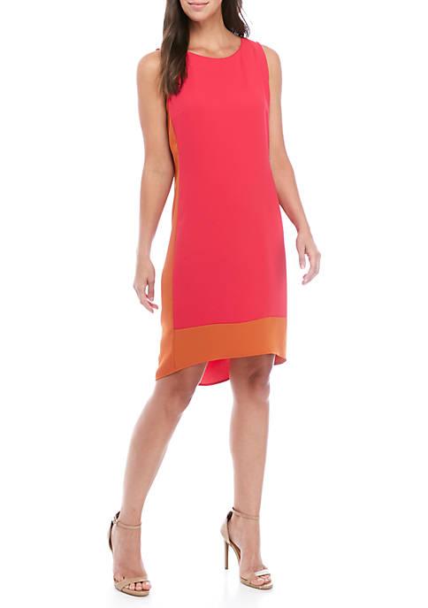 Sleeveless 2 Tone Panel Crepe Dress