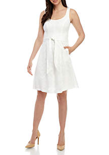 Nine West Sleeveless Burnout Fit and Flare Dress