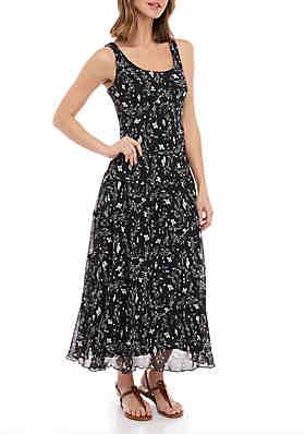 62c7c02a2c89 Nine West Sleeveless Multi Tier Maxi Dress ...