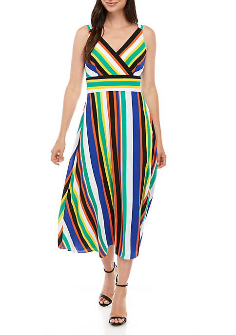 Nine West Sleeveless Stripe Fit and Flare Midi