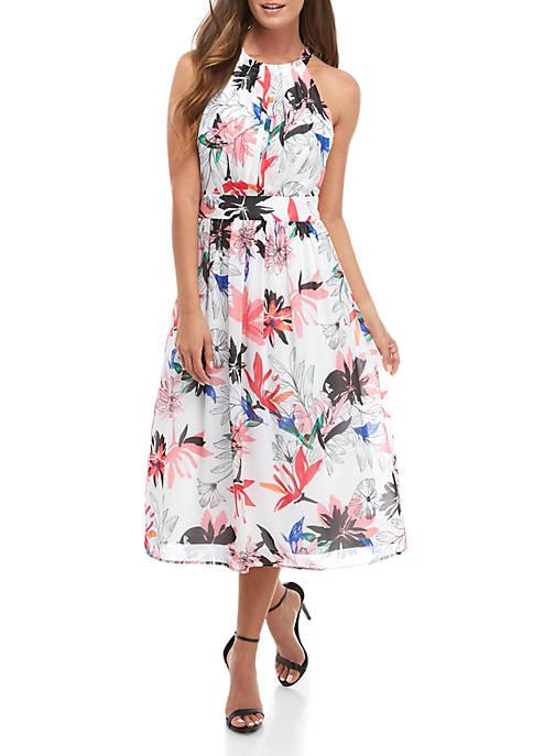 Halter Neck Chiffon Maxi Dress