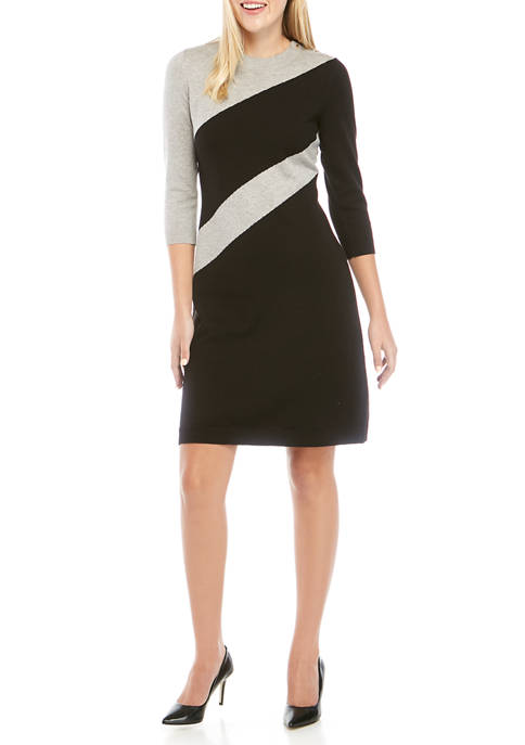 Nine West Womens Diagonal Color Block Sweater Dress