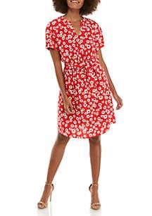 Nine West Short Sleeve Wrap Dress