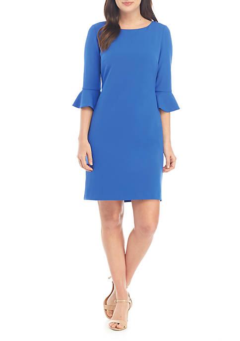 3/4 Ruffle Sleeve A Line Dress