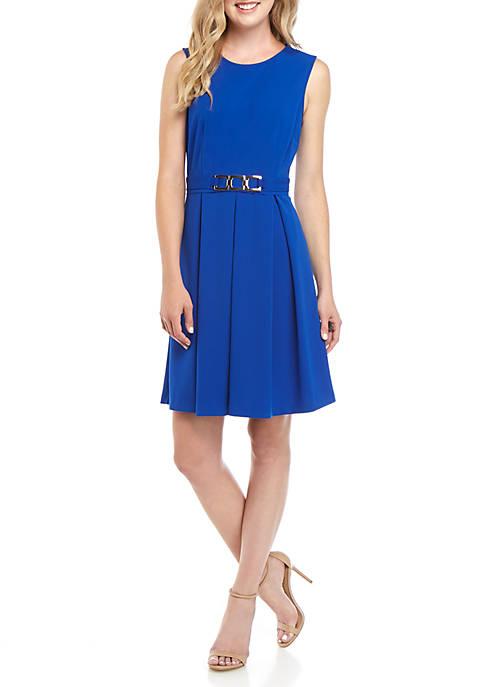 Nine West Sleeveless Pleat Dress with Belt Detail