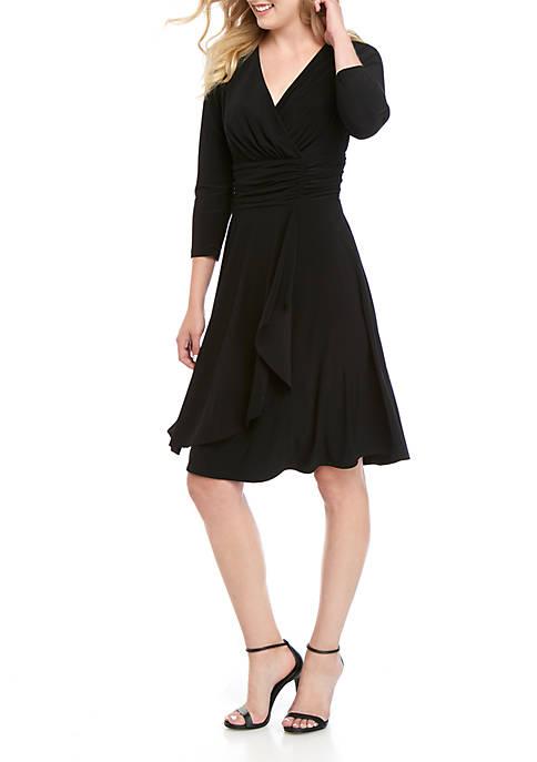 3/4 Sleeve Ruched Ruffle Overlay Dress