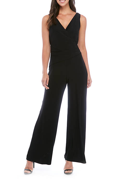 Nine West Womens Sleeveless Surplice Jumpsuit