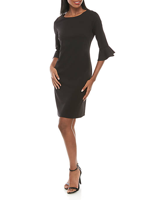 3/4 Ruffle Sleeve Sheath Dress