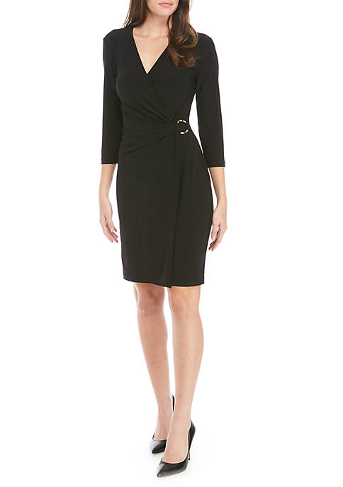 Nine West Womens 3/4 Sleeve Solid Wrap Dress