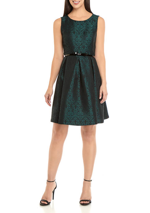 Nine West Womens Sleeveless Jacquard Belted Fit and