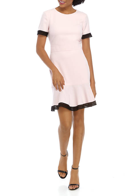 Womens Short Sleeve Sophie Crepe Flounce Dress