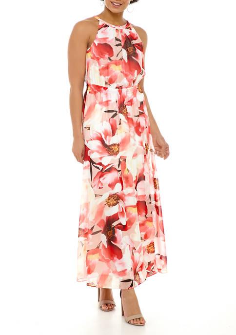 Womens Halter Printed Chiffon Maxi Dress