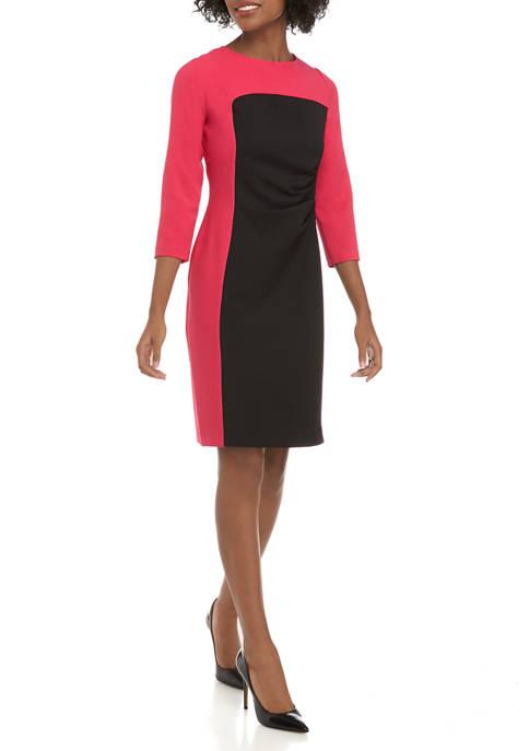 Nine West Womens 3/4 Sleeve Color Block Dress