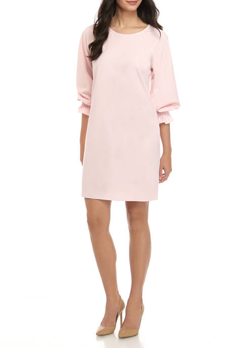 Womens Blouson Sleeve Crepe Shift Smock Dress