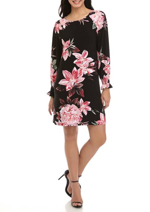 Womens Blouson Sleeve Shift Smock Dress