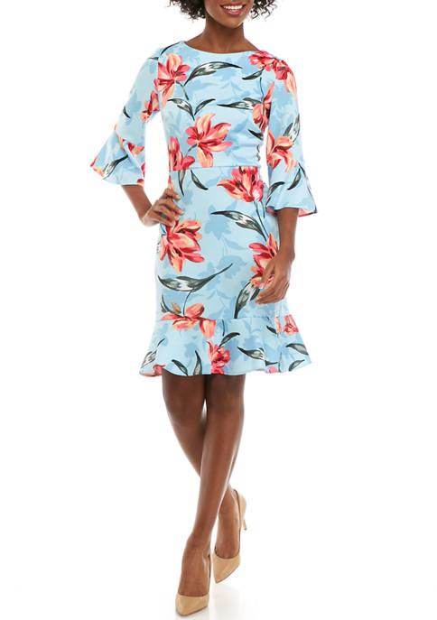 Nine West Womens 3/4 Sleeve Printed Scuba Dress