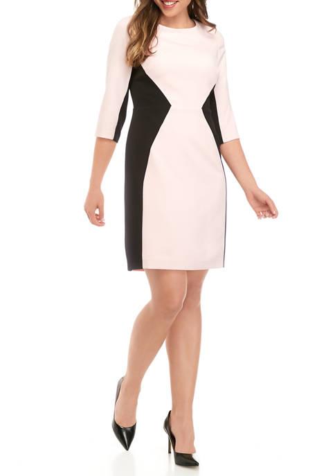Womens 3/4 Sleeve Crepe Color Block Sheath Dress