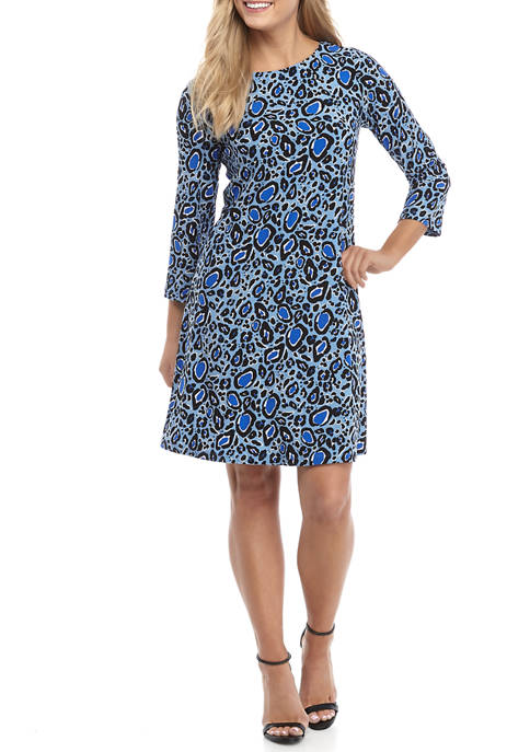 Womens 3/4 Sleeve Animal Print Swing Dress