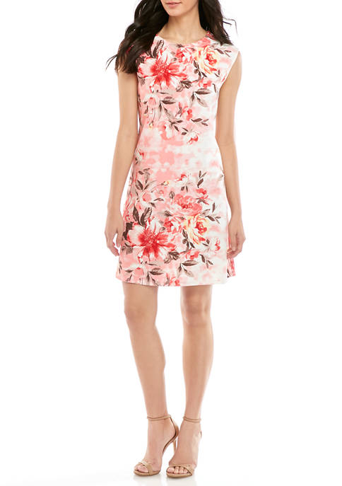 Nine West Womens Cap Sleeve Printed Swing Dress