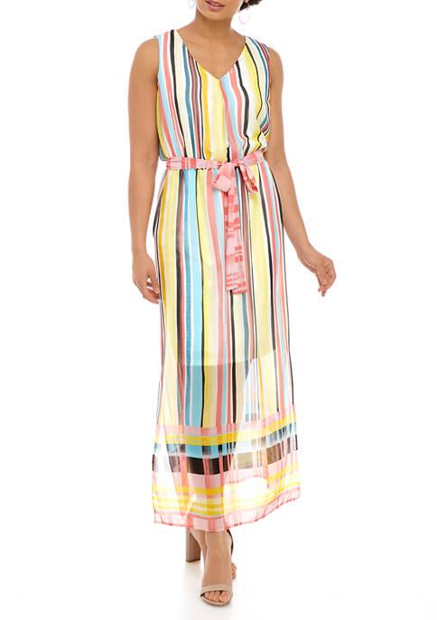 Womens Sleeveless Printed Chiffon Maxi Dress