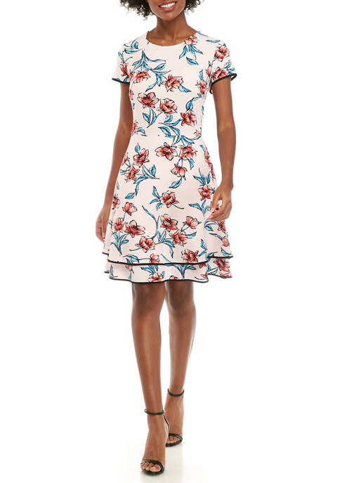Womens Short Fleeve Fit and Flare Tiered Dress