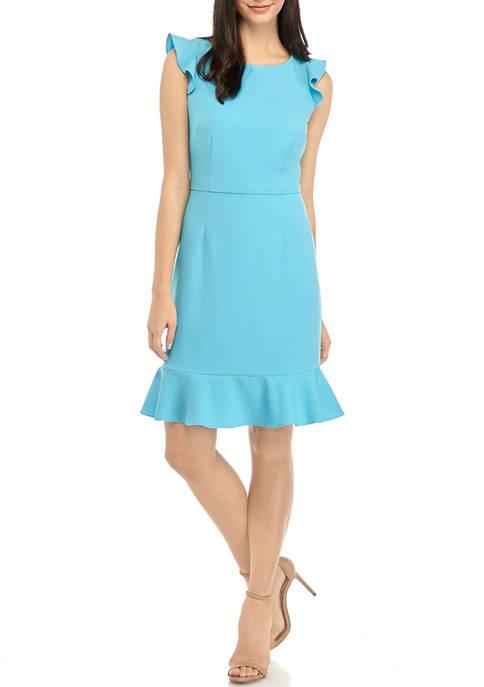 Womens Short Sleeve Crepe Dress