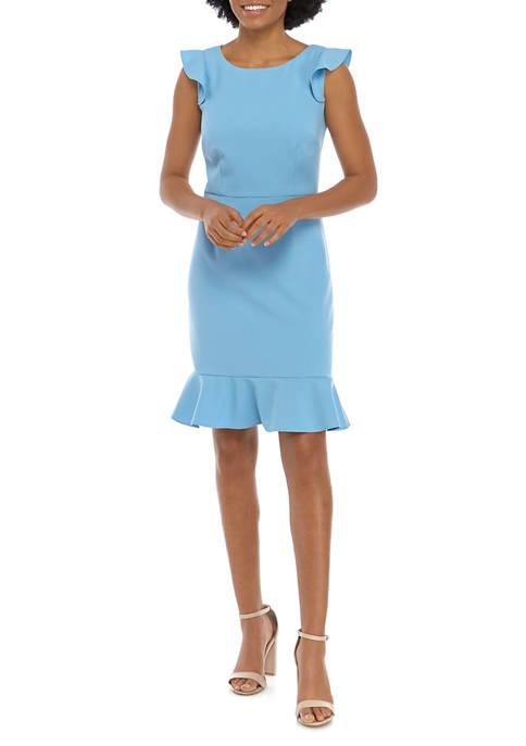 Nine West Womens Short Sleeve Crepe Dress