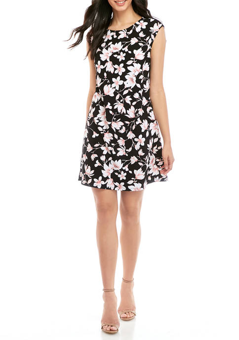 Womens Cap Sleeve Printed Swing Dress