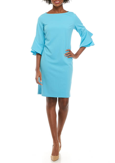 Womens 3/4 Ruffle Sleeve Crepe Dress