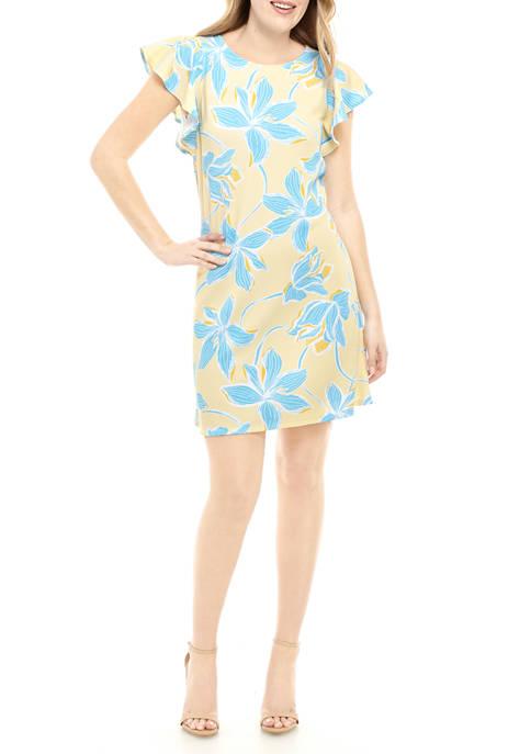 Womens Flutter Sleeve Swing Dress