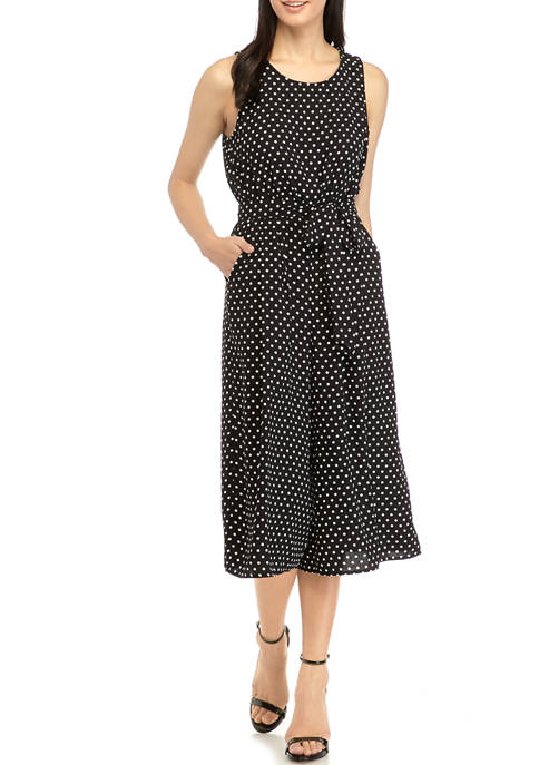 Nine West Womens Sleeveless Classic Dot Belted Jumpsuit