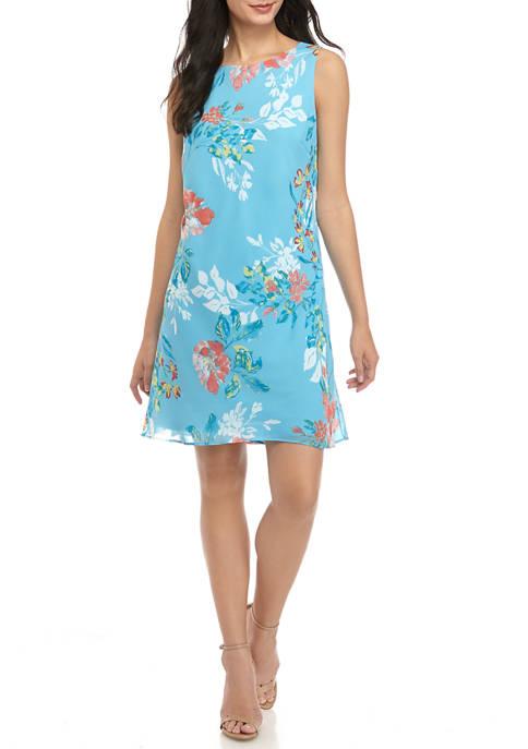 Nine West Womens Sleeveless Kathy Print Chiffon Dress