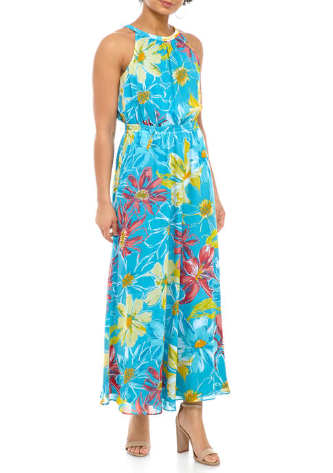 Nine West Womens Halter Printed Chiffon Maxi Dress