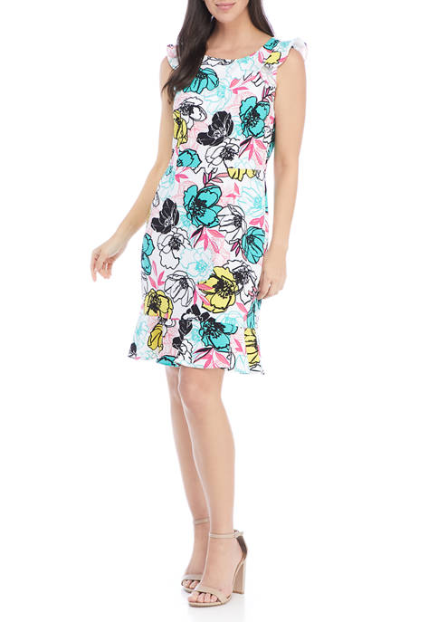 Nine West Womens Sleeveless Floral Fit and Flare