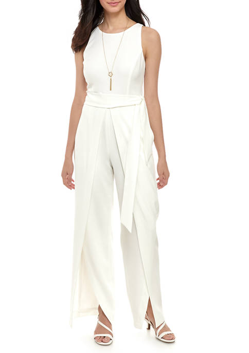 Nine West Womens Sleeveless Crepe Belted Jumpsuit