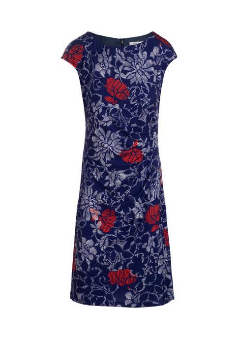 Kasper Womens Cap Sleeve Petra Side Pleat Dress