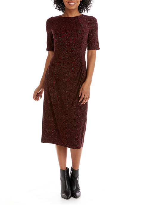 Nine West Womens Short Sleeve Side Ruched Midi
