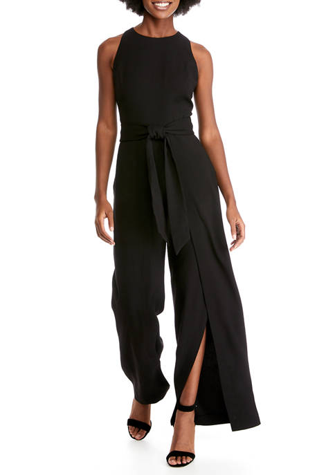 Womens Sleeveless Crepe Flyaway Jumpsuit
