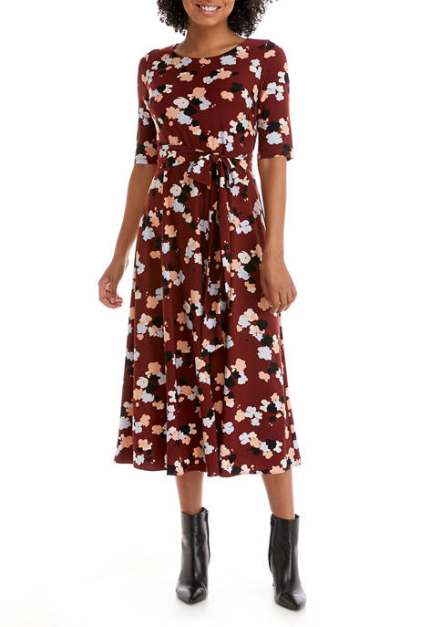 Womens Short Sleeve Floral Fit and Flare Midi Dress