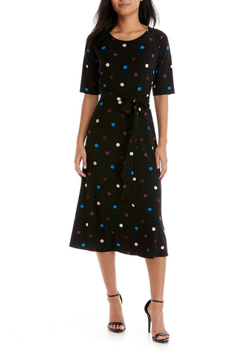 Womens Short Sleeve Dot Fit and Flare Midi Dress