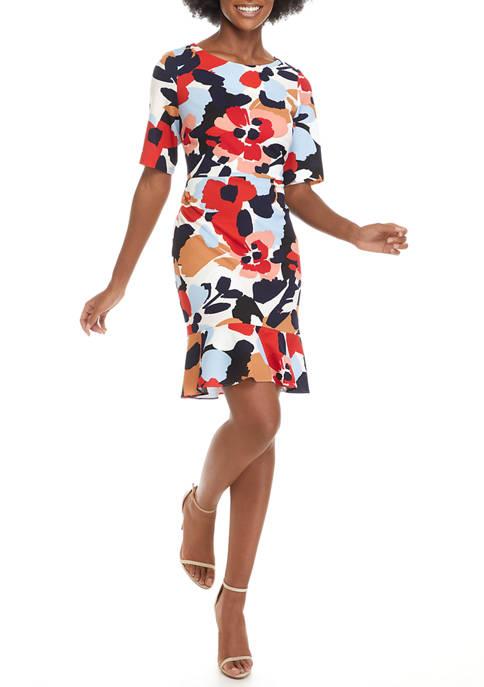 Womens Floral Scuba Crepe Flounce Dress